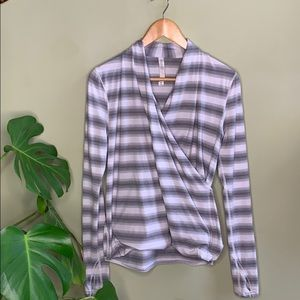 Lululemon Radiant Long Sleeve 6 Striped Grey Wrap
